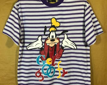 NOS With Tags Goofy Walt Disney Stripes T-shirt One Size Fit For All Chest 21""