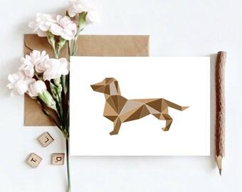 Dachshund Animal Geometric Greetings Card   Friend, Sibling, Coworker Card   Generic Greetings Card