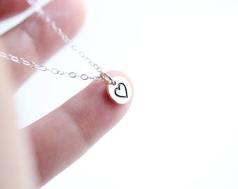 Stamped Tiny Heart Pendant Necklace, Sterling Silver tiny heart, Love Necklace,Valentine Gift, Minimalist Necklace, Little Girls Gift