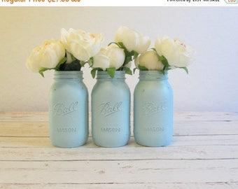 SUMMER SALE Baby Shower Centerpiece - Light Blue Mason Jars - Quart Size Jars - Mason Jars Painted - Mason Jar Wedding - Mason Jar Decor
