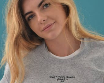 Embroidered Go back to bed slogan Sweater