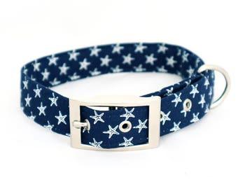 Handmade dark blue starfish dog collar with silver metal buckle