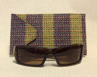 Welsh tweed wider glasses/spectacles/sunglasses case in lime green and dark purple