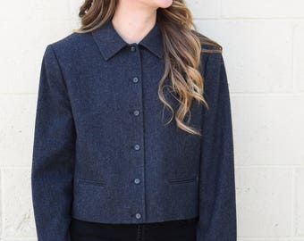 Vintage 1950's Grey Charcoal Pendleton Cropped Jacket // Coat // Blazer