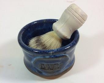 Deep blue handmade apothecary shaving mug/DAD/ holiday gift/Ceramic/potter/ soup bowl/in stock  M15