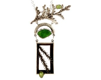 Colorado Peridot, Smithsonite and Sterling Pendant ~ Earth Series Colorado Peridot, Green Smithsonite, Nature Cast Sterling Pendant