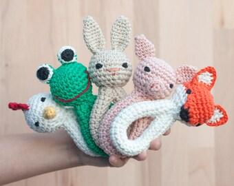 Hochet, tête au crochet, animale, Fox, orange, Noël, enfantin, rond, blanc, jouet, jouet, bébé, enfant, laine bio, cadeau