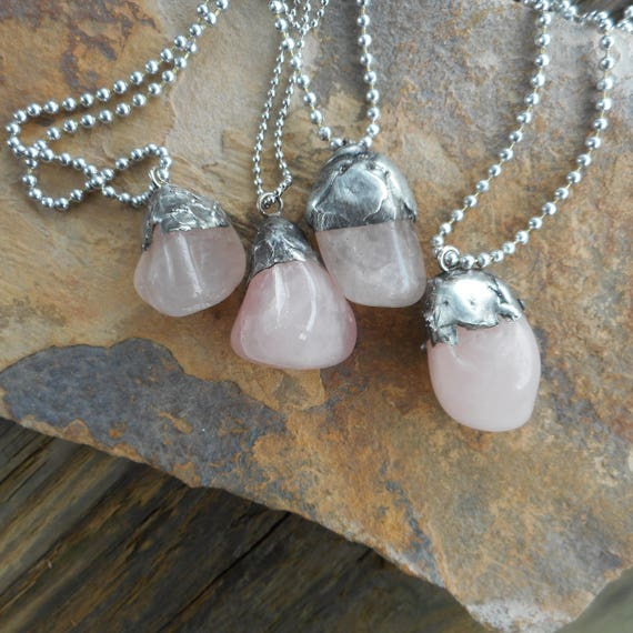 Tumbled Rose Quartz Soldered Pendants - Rose Quartz Silver Pendant - Stainless Steel Chain Rose Quartz Necklace - Tiffany Technique