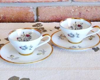 Alka Bavaria 1940s pair of demitasse duo cups and saucers, floral roses motif, high tea