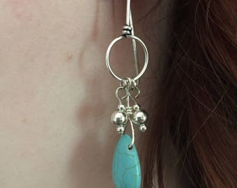 Turquoise Drops & Silver Loops Earrings