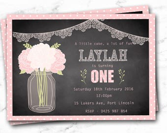 Girl's First Birthday Invitation ** Customisable to any age **