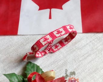 Canada flag woven friendship bracelet. Canadian. Canada day gift.