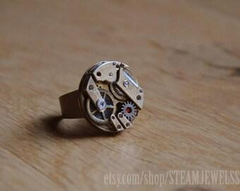 Steampunk ring mechanism ooak B374