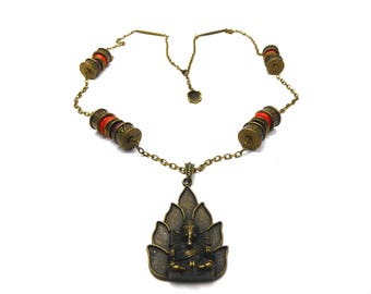 Ganesh necklace and jade and turquoise beads