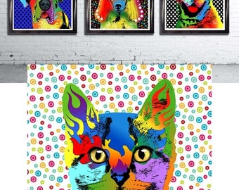 Pop art cat Print cat art print art wall artpop surrealism illustration cat lover gift cute cats art print kitten kitty wall decor digital