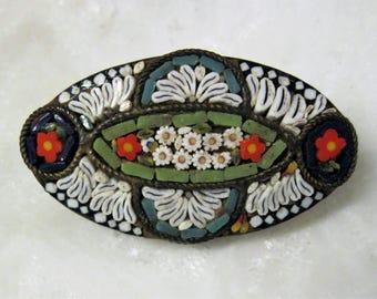 Vintage Italian Mosaic Glass Brooch