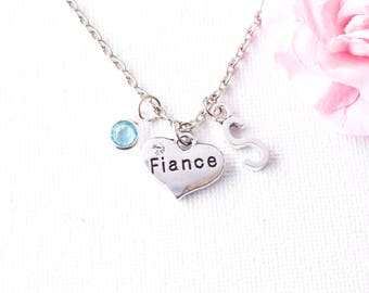 Silver fiance necklace, fiance necklace, gift for fiance, heart necklace, girlfriend necklace, custom necklace, special fiance,