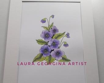 Original Botanical illustration, Purple Pansy Flower,Hand Drawn,  Pen & Ink,  Watercolour, A4 Mounted 14x11, Original Gift