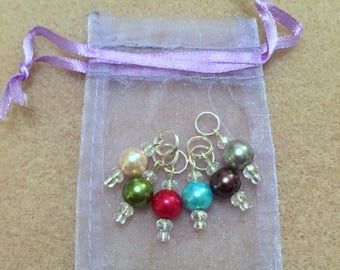Handmade Beaded Glass Pearl Stitch Markers for Knitting or Crochet - Beautiful