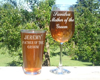 Mother of the Bride and Father of the Bride Glass Set, Mother of the Groom Wine Glass, Father of the Groom Pint Glass, Wedding Glass Set