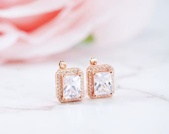 Rose Gold, CZ Earrings, Radiant Cubic Zirconia Earrings, Rose Gold Earrings, Personalised Gift, Bridal Earrings, Wedding Earrings, Custom