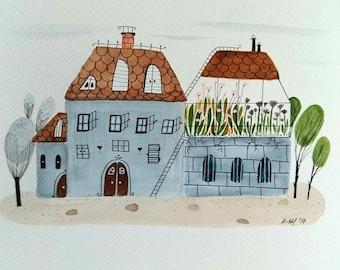Urban greenhouse original painting