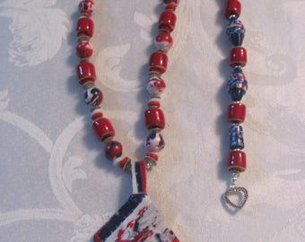 African Kazuri beads with polymer clay beads