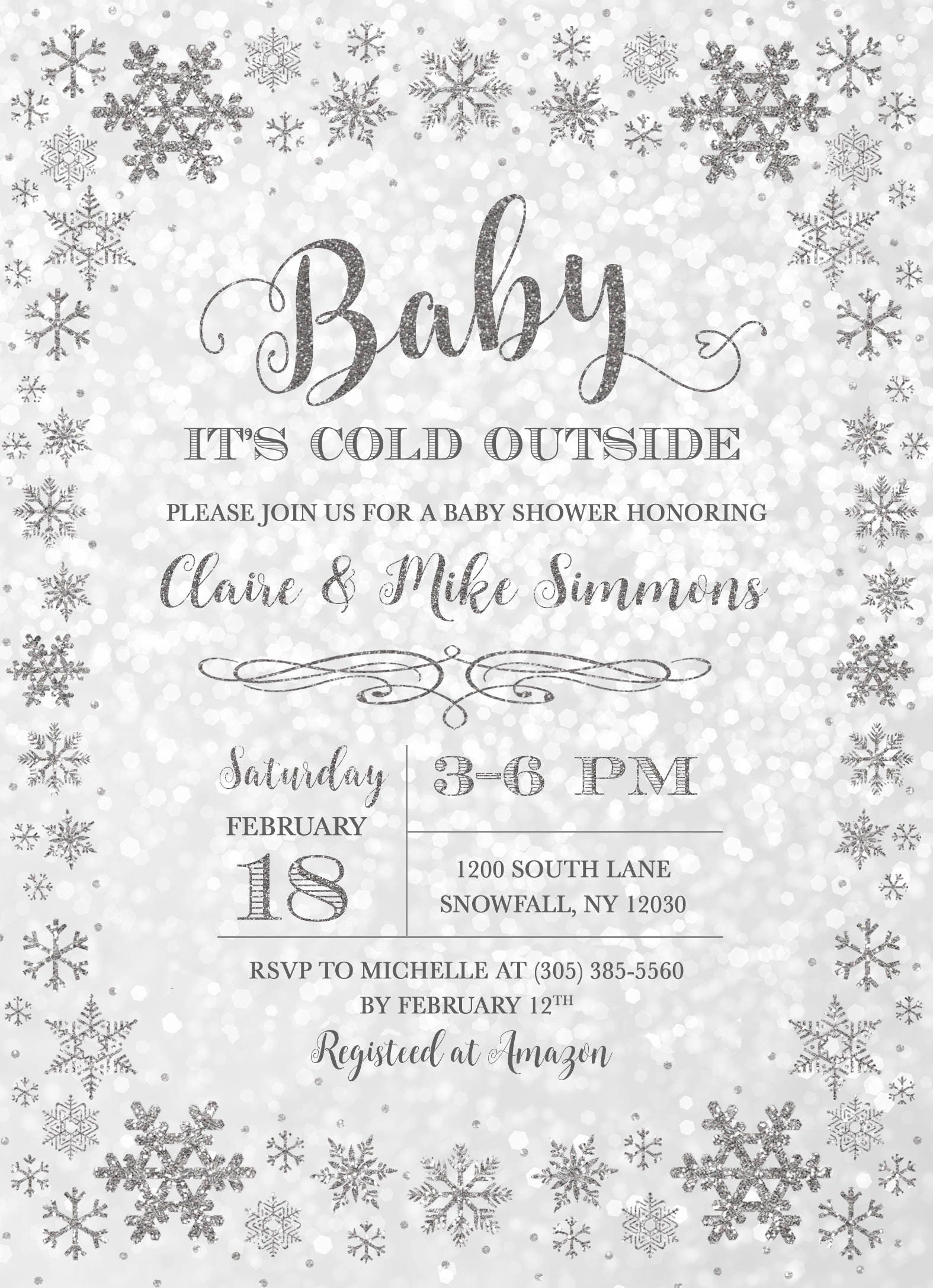 Winter Wonderland Baby Shower Invitation, Baby Itu0027s Cold Outside Baby  Shower Invitation, Silver Snowflake Baby Shower Invite, Gender Neutral