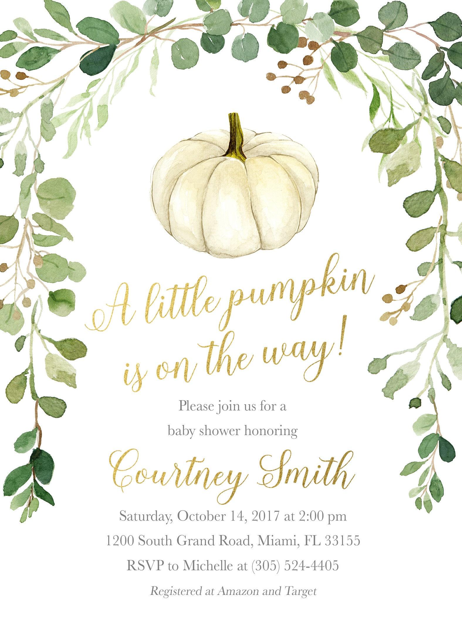 Pumpkin Baby Shower Invitation, Little Pumpkin on the Way ...
