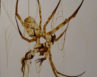 Creepy Spider Chick coffee painting