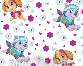 Woven Fabric - White Paw Patrol Pup Power - Fat Quarter Yard +