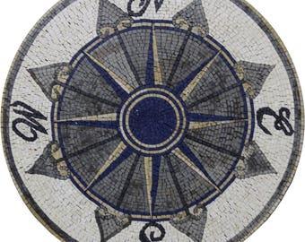 "Nautical 30"" Compass Sea Navigation Wall Design Marble Mosaic MD1853"