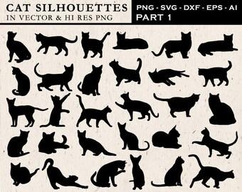 Cat SVG, Cat Silhouette SVG Cut Files, Cat Clipart, Cat Silhouette Cut Files svg dxf eps png - Silhouette Cricut Transfer & Cutting Machine