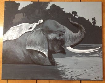 a painting of a photo of Mikki Yao on an elephant