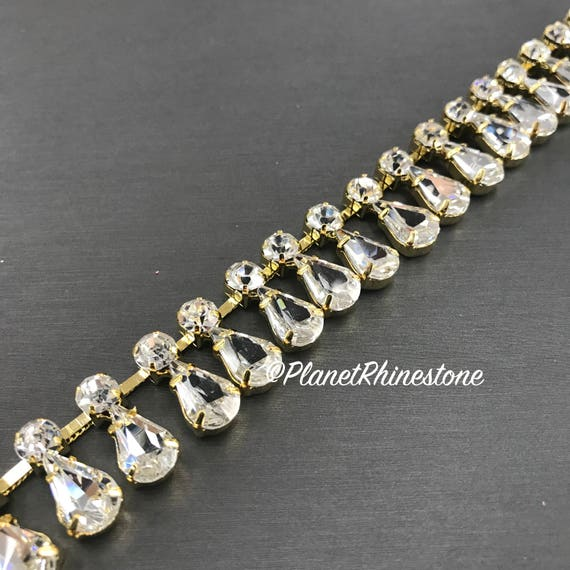 Gold Tear Drop Crystal Trim  #T-D