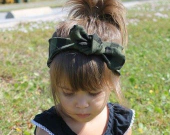 Olive Buffalo Plaid Top Knot- top knot, girl headband, toddler headband, baby headband, buffalo plaid, winter accessories, winter top knot