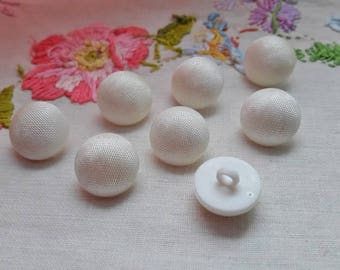 EIGHT set vintage french buttons, fancybuttons, buttons, small buttons, white buttons, boutons blancs, shank buttons, dress buttons