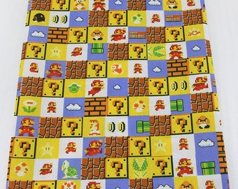 "Tissu Coton imprimé thème ""Super Mario Bros"""
