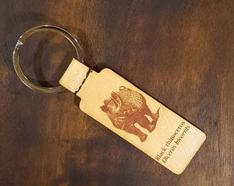 Leather Keyring with Black Rhino  - Free Global Shipping