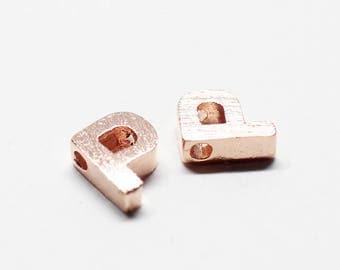 P0721/Anti-Tarnished Rose Gold Plating Over Brass /Brushed Mini Alphabet Charm/5x7mm/2pcs