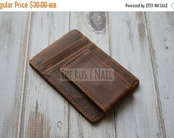 ON SALE Distressed Genuine Leather Credit Card Case with Money Clip - Dark Brown