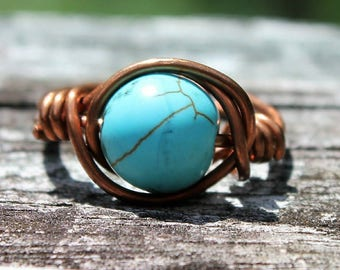 Copper wire ring, turquoise stone bead, wire wrapped ring, copper ring, copper turquoise ring, boho ring