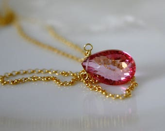 Mystic Pink Topaz Briolette pendant chain gold plated Silver925 mysticism pink topaz Briolett pendant necklace Gilded Silber925