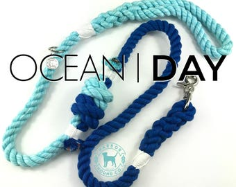 The OCEAN DAY Dog Leash, Dog Lead, Rope Lead, Cotton Rope Leash, Handmade Rope Leash