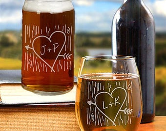Wedding Wine Glasses, Engagement Present, Anniversary Gift, His And Her Gifts, Bride And Groom Gift Idea, Girlfriend Gift, Gifts Him And Her