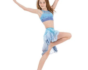 Three Piece Youth Girls Custom Dance Competition Costume Dip Dye Ombre Lavender Periwinkle Aqua Blue Medium Large 8 to 10