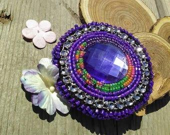 Purple dancer beaded earring