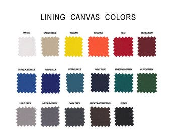 Available Lining Colors, Canvas Sample, Colors Customization, Fabric description, Colorful Lining