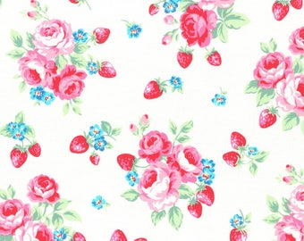1/2 yard Lecien Japan Flower Sugar Berry Fall 2017 Collection |  White Floral Strawberries # 31512L-10