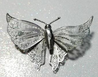 WOW SALE : Vintage Filigree Butterfly Silvertone Pin Brooch